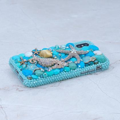 Bling Turquoise Sea Horse Star Gold..