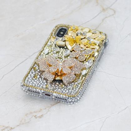 Bling Golden Butterfly Clear Gem St..