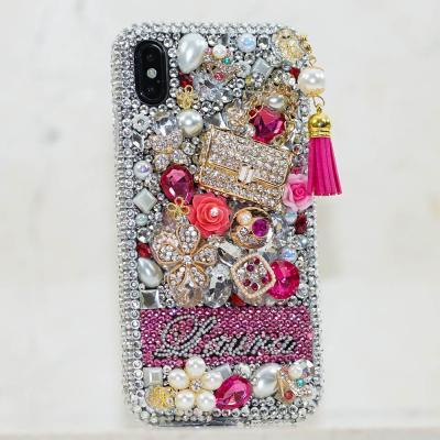 Personalized Name Initials Genuine Clear Pink Crystals Charm Tassel Bling Case For iPhone X XS Max XR 7 8 Plus Samsung Galaxy S9 Note 9 / 8