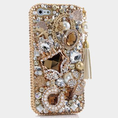 Bling Crystals Phone Case for iPhone 6 / 6s, iPhone 6 / 6s PLUS, iPhone 4, 5, 5S, 5C, Samsung Note 2, Note 3, Note 4, Galaxy S3, S4, S5, S6, S6 Edge, HTC ONE M9 (GOLDEN GLORY DESIGN WITH TASSEL PHONE CHARM) By LuxAddiction