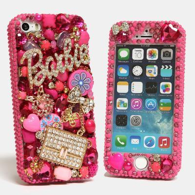 Bling Crystals Phone Case for iPhone 6, iPhone 6 PLUS, iPhone 4, 5, 5S, 5C, Samsung Note 2, Note 3, Note 4, Galaxy S3, S4, S5, S6, S6 Edge, HTC ONE M9 (BARBIE AND PURSE 3D DESIGN) By LuxAddiction