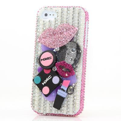 Bling Crystals Phone Case for iPhone 6 / 6s, iPhone 6 / 6s PLUS, iPhone 4, 5, 5S, 5C, Samsung Note 2, Note 3, Note 4, Galaxy S3, S4, S5, S6, S6 Edge, HTC ONE M9 (MISS MAKE-UP DESIGN) By LuxAddiction
