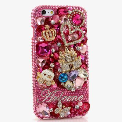 Bling Crystals Phone Case for iPhone 6 / 6s, iPhone 4, 5, 5S, 5C, Samsung Note 2, Note 3, Note 4, Galaxy S3, S4, S5, S6, S6 Edge, HTC ONE M9 (WONDERLAND PERSONALIZED NAME & INITIALS DESIGN) By LuxAddiction