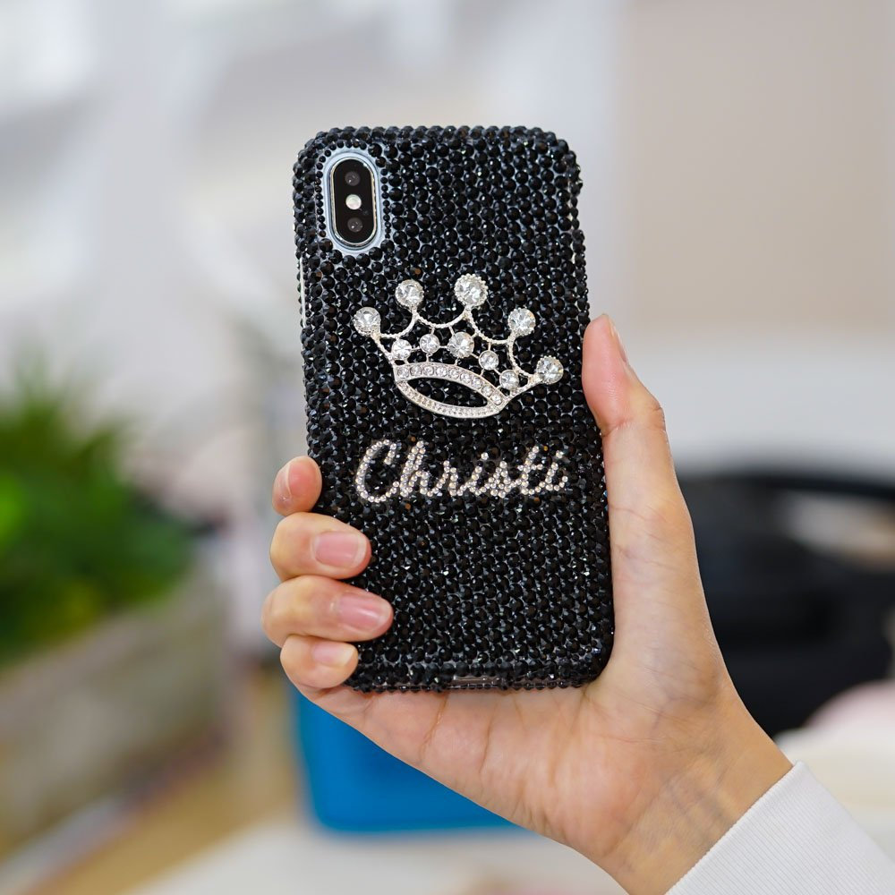 Diamond Crown Personalized Name Initials Genuine Jet Black Crystals Case  For IPhone X XS Max XR 7 8 6 6s Plus Samsung Galaxy S9 Note 9 / 8