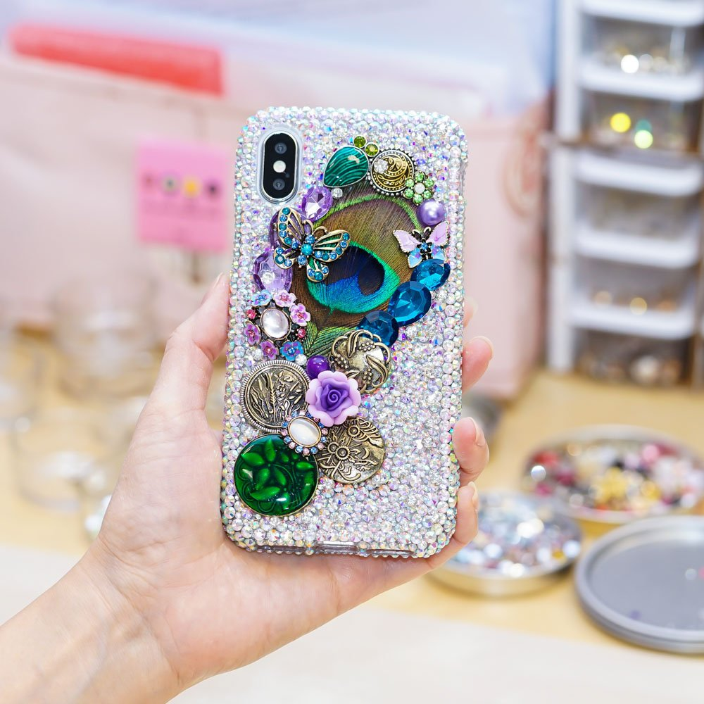 Genuine AB Crystals Case For iPhone X XS Max XR 7 8 Plus Samsung Galaxy S9 Note 9 Bling Diamond Sparkle Vintage Peacock Feather Butterfly