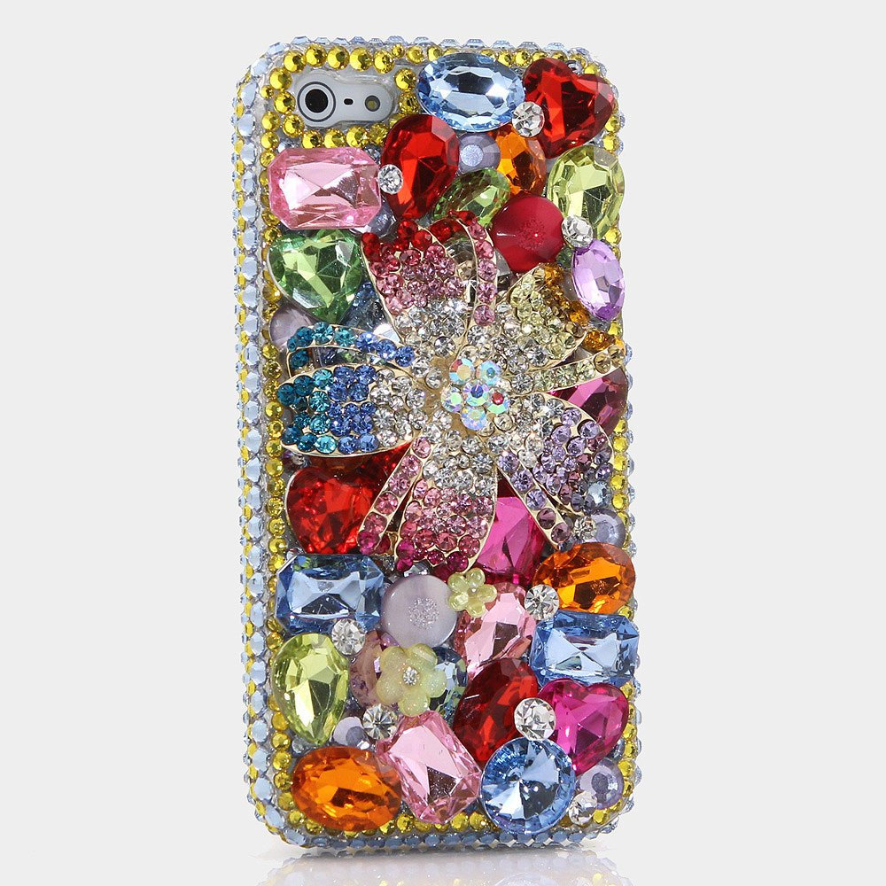 Genuine Crystals Case For iPhone X XS Max XR 7 8 Plus Samsung Galaxy S9 Note 9 Bling Diamond Sparkle Rainbow Flower Pink Blue Green Stones