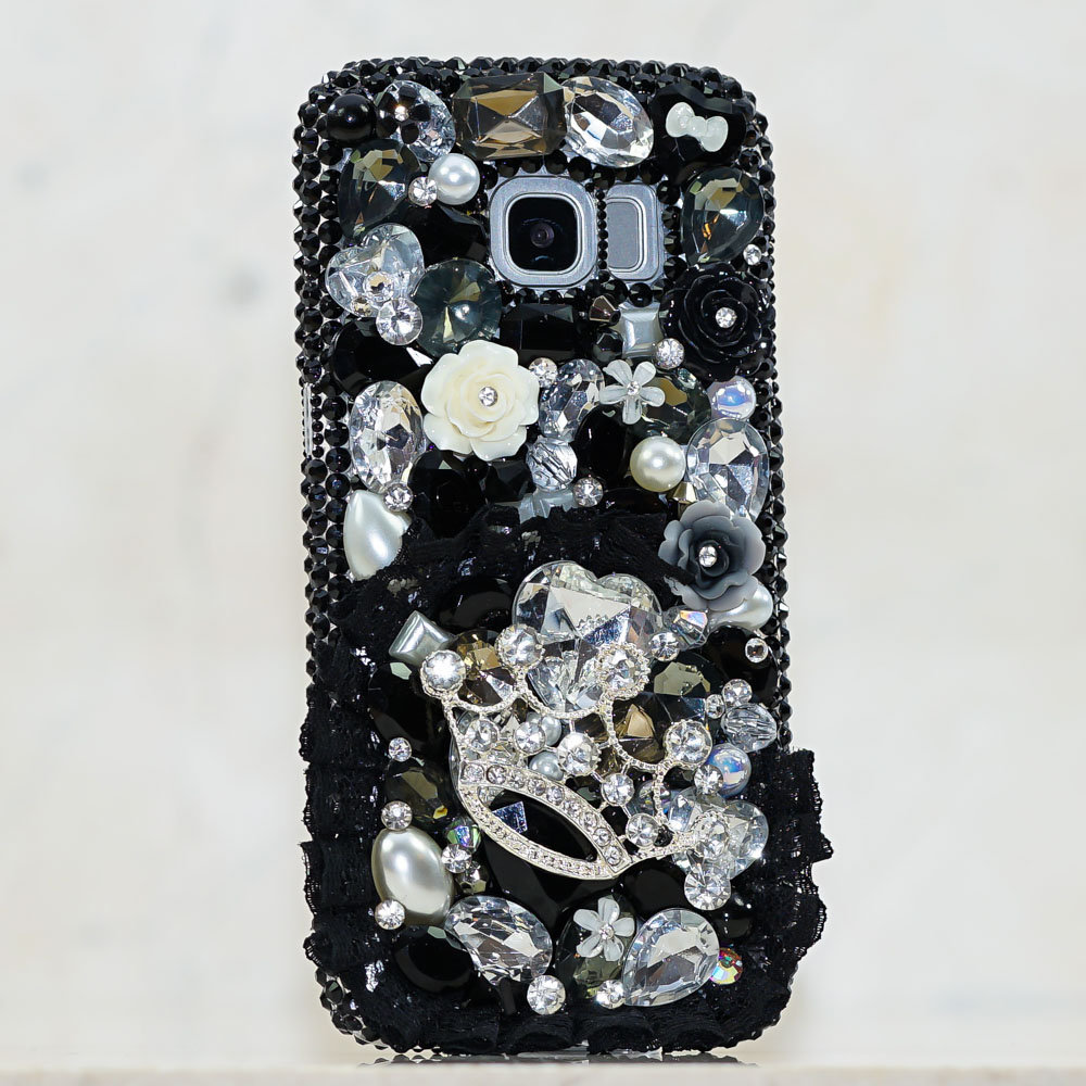 Genuine Crystals Case For iPhone X XS Max XR 7 8 Plus Samsung Galaxy S9 Note 9 Bling Diamond Sparkle Black Lace Silver Crown Roses