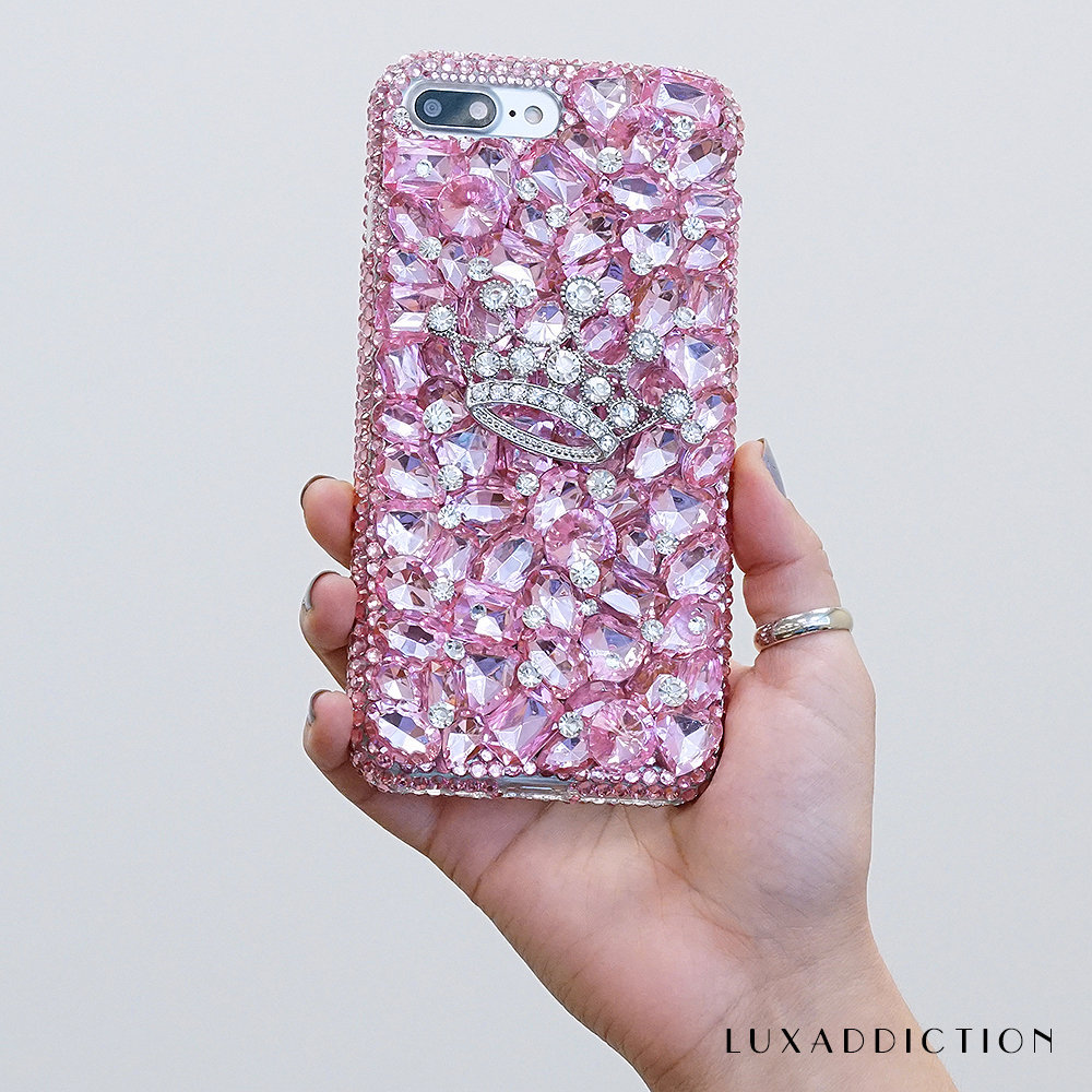 Diamond Crown Baby Stones Genuine Crystals Diamond Sparkle Protective Bling Case For iPhone X XS Max XR 7 8 Plus Samsung Galaxy S9 Note 9