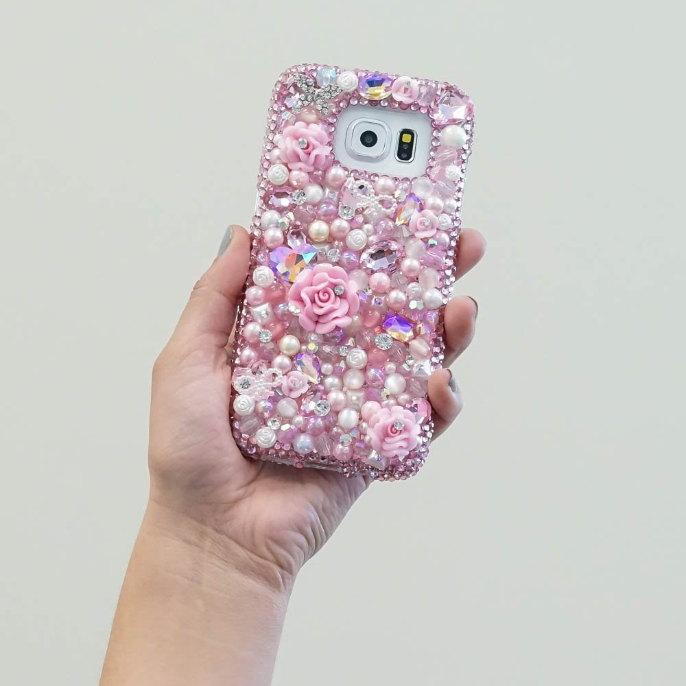 Baby Pink Perls Stones Roses Genuine Crystals Diamond Sparkle Bling Protective Case For iPhone X XS Max XR 7 8 Plus Samsung Galaxy S9 Note 9