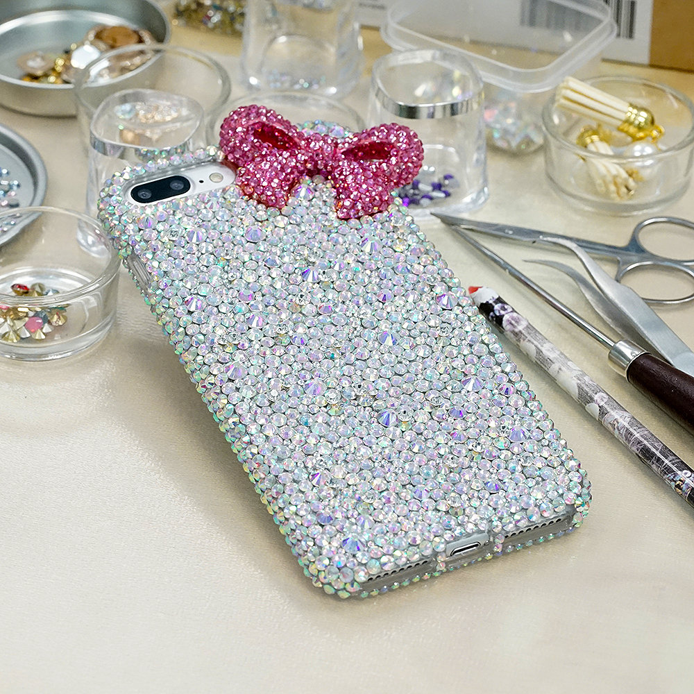 Fuchsia Pink Bow Mixed Sizes Genuine AB Crystals Diamond Sparkle Bling Easy Grip Case For iPhone X XS Max XR 7 8 Plus Samsung Galaxy S9 Note
