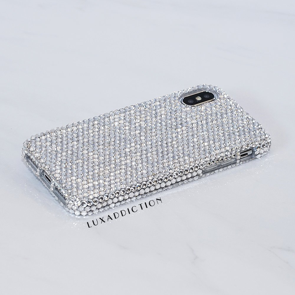 iPhone X / XS Max / XR / 8 / 7 Plus Case Made With Genuine Clear Crystals Diamond Bling Easy Grip Protective Cover