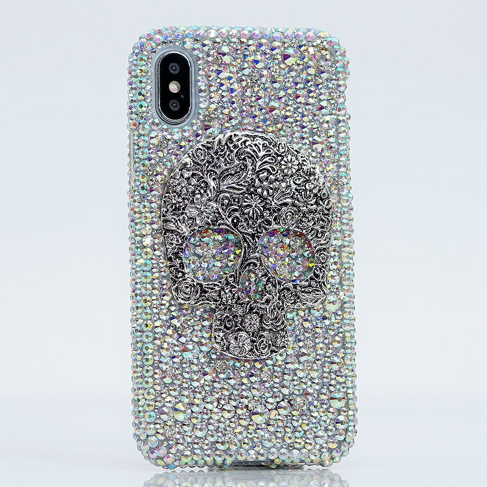 Bling Skull Genuine AB Crystals Diamond Sparkle Easy Grip Case For iPhone X XS Max XR 7 8 Plus Samsung Galaxy S9 Note 9 Gift For Her