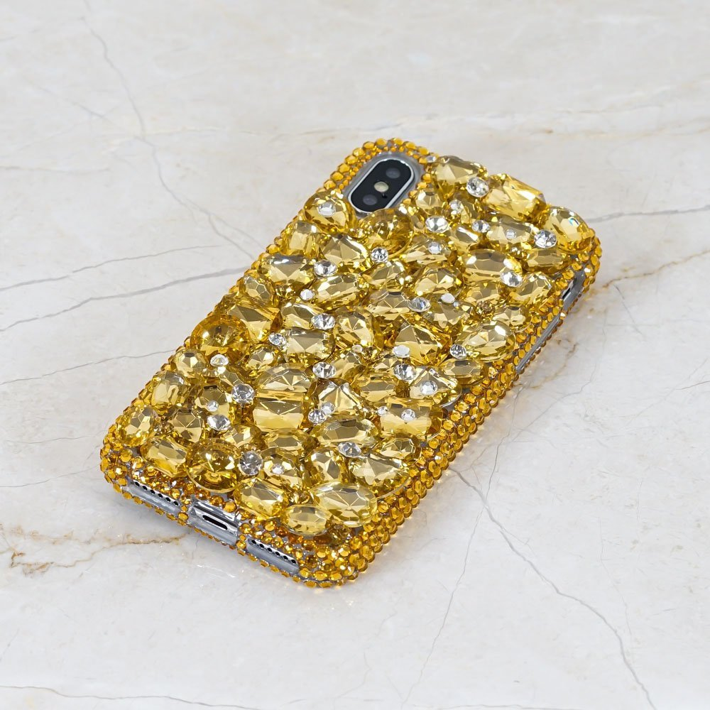 Bling Gold Gem Stones Genuine Crystals Diamond Sparkle Easy Grip Case For iPhone X XS Max XR 7 8 Plus Samsung Galaxy S9 S8 S7 Note 9 Moto