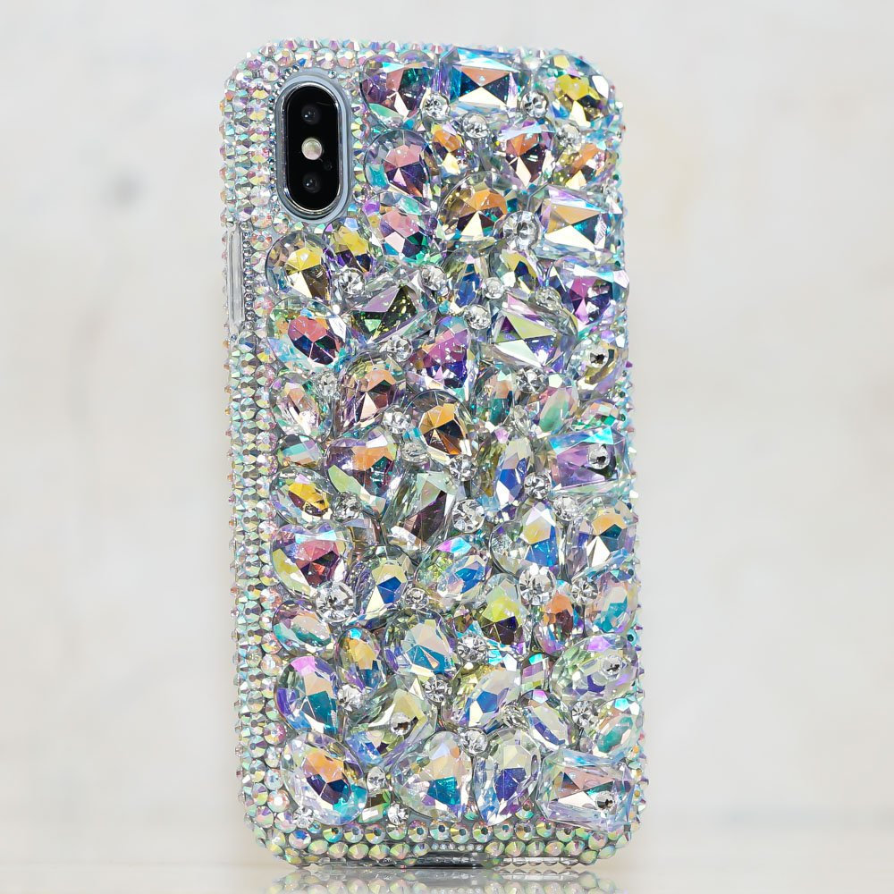 Bling Genuine Aurora Borealis Stones Crystals Diamond Sparkle Case Cover For iPhone X XS Max XR 7 8 Plus Samsung Galaxy S9 S8 Note 9 / 8