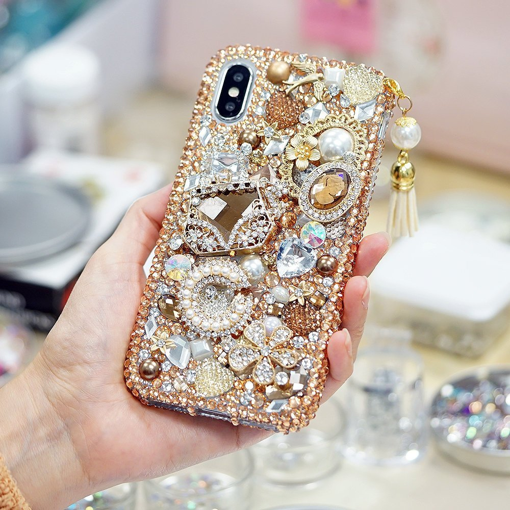 Bling Golden Glory Design with Tassel Phone Charm Genuine Crystals Diamond Sparkle Case For iPhone X XS Max XR 7 8 Plus Samsung Galaxy Note