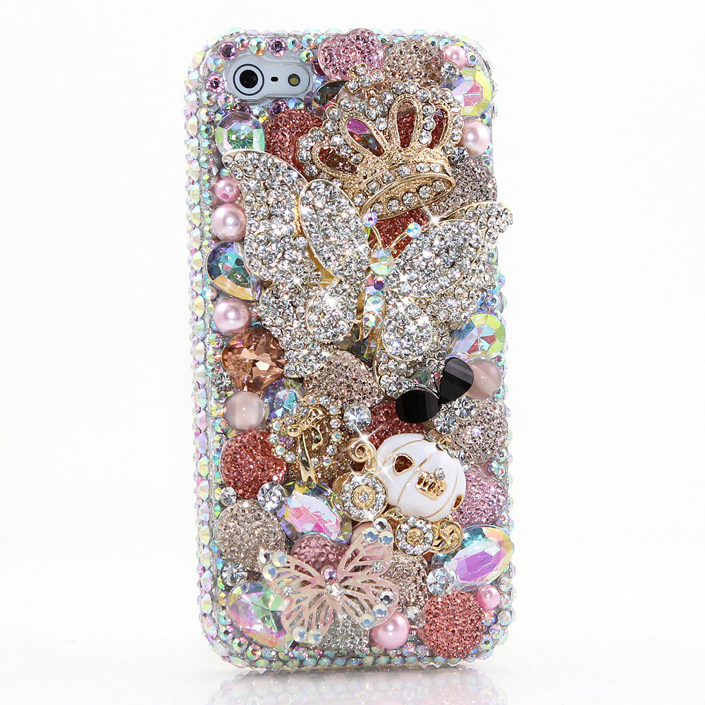 Bling Crystals Phone Case for iPhone 6 / 6s, iPhone 6 / 6s PLUS, iPhone 4, 5, 5S, 5C, Samsung Note 2, Note 3, Note 4, Galaxy S3, S4, S5, S6, S6 Edge, HTC ONE M9 (DAZZLIN' BUTTERFLY DESIGN) By LuxAddiction