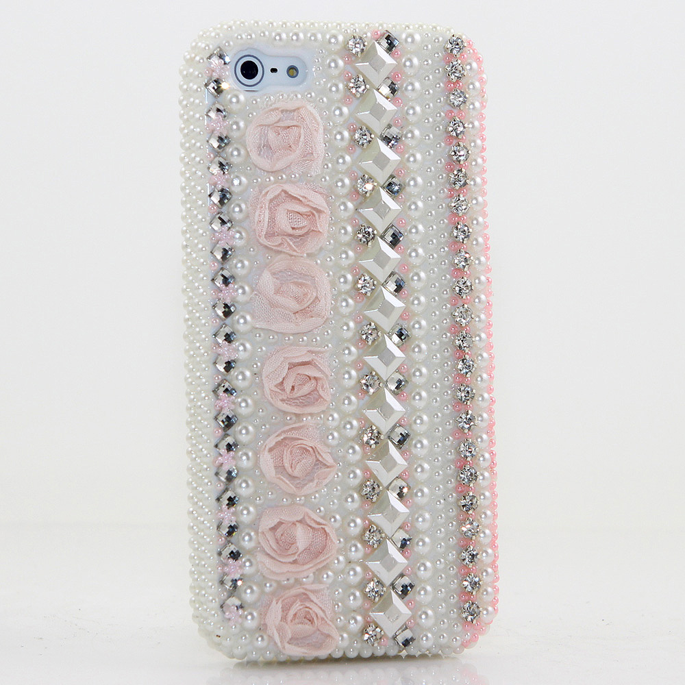 Bling Crystals Phone Case for iPhone 6 / 6s, iPhone 6 / 6s PLUS, iPhone 4, 5, 5S, 5C, Samsung Note 2, Note 3, Note 4, Galaxy S3, S4, S5, S6, S6 Edge, HTC ONE M9 (PEARLESCENT PINK ROSES DESIGN ) By LuxAddiction