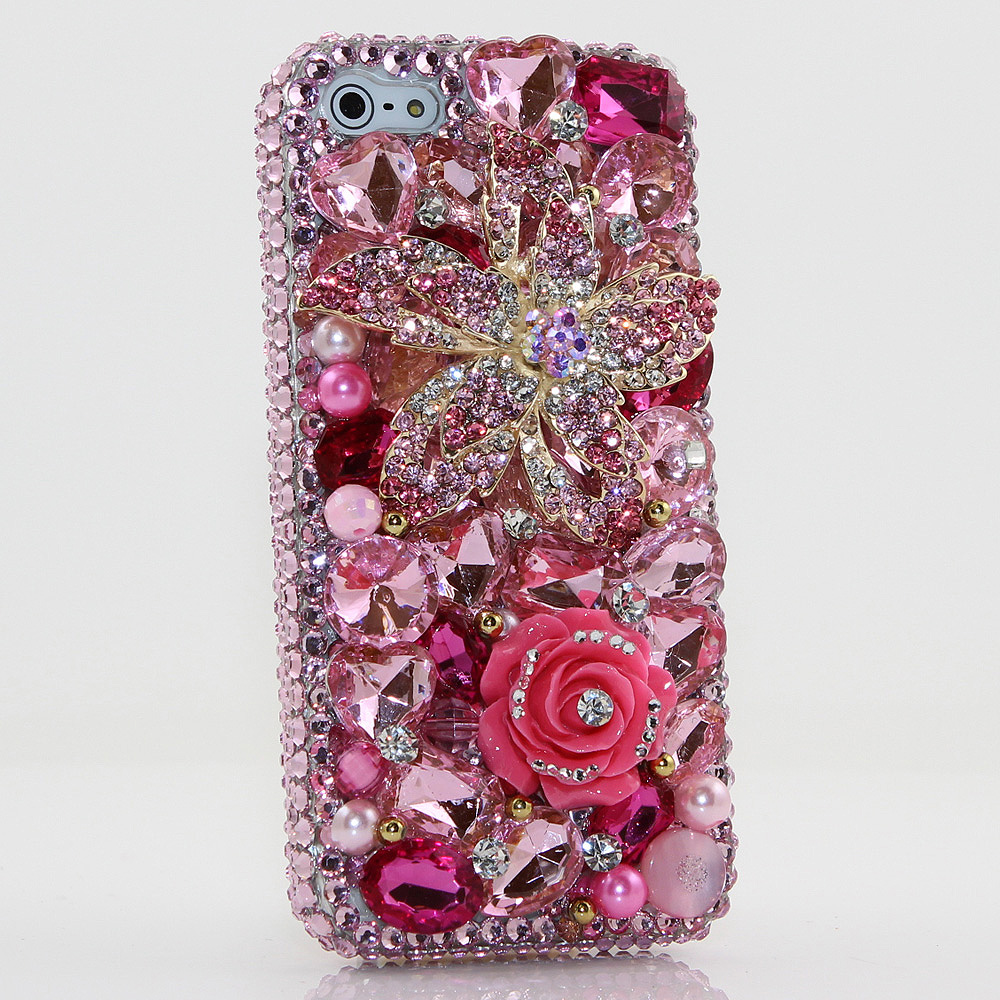 Bling Crystals Phone Case for iPhone 6 / 6s, iPhone 6 / 6s PLUS, iPhone 4, 5, 5S, 5C, Samsung Note 2, Note 3, Note 4, Galaxy S3, S4, S5, S6, S6 Edge, HTC ONE M9 (PINK POSIES DESIGN) By LuxAddiction