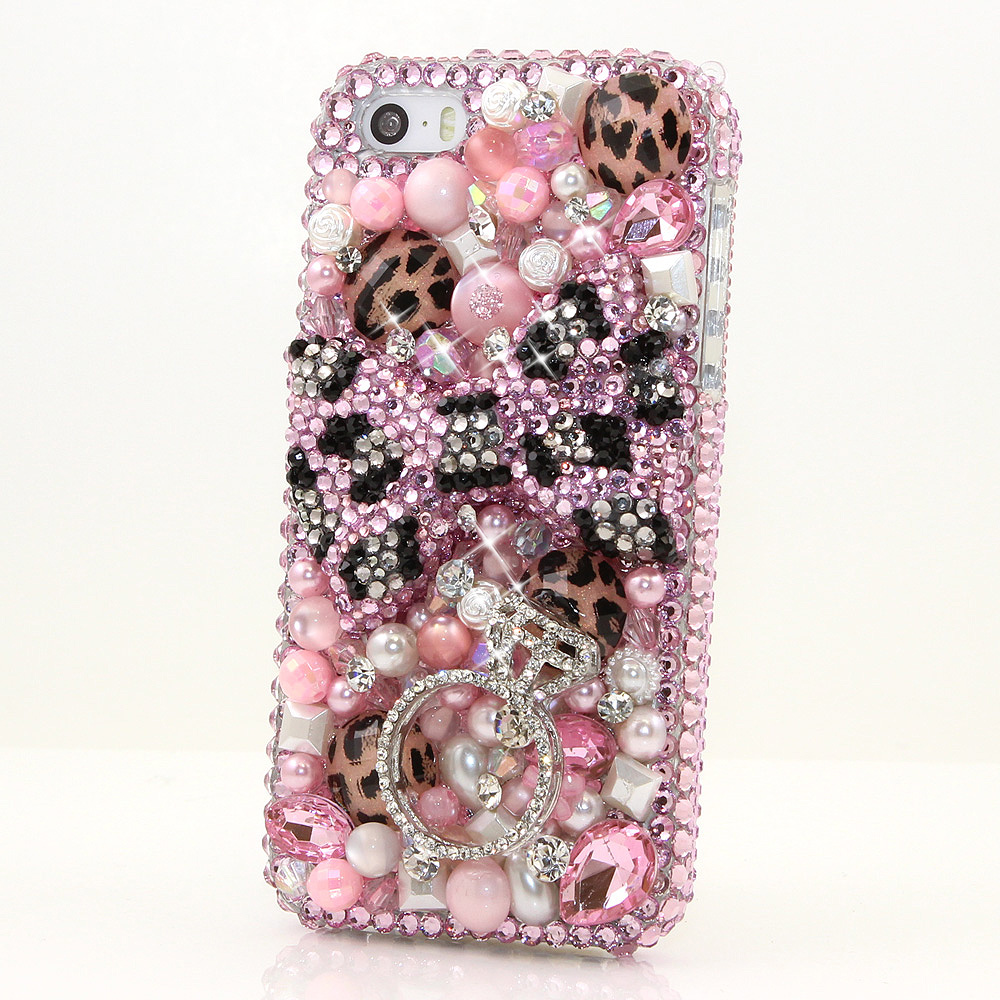 Bling Crystals Phone Case for iPhone 6 / 6s, iPhone 6 / 6s PLUS, iPhone 4, 5, 5S, 5C, Samsung Note 2, Note 3, Note 4, Galaxy S3, S4, S5, S6, S6 Edge, HTC ONE M9 (PINK LEOPARD BOW WITH DIAMOND RING DESIGN ) By LuxAddiction