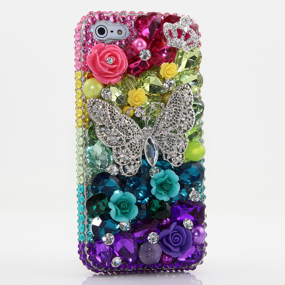 Bling Crystals Phone Case for iPhone 6 / 6s, iPhone 6 / 6s PLUS, iPhone 4, 5, 5S, 5C, Samsung Note 2, Note 3, Note 4, Galaxy S3, S4, S5, S6, S6 Edge, HTC ONE M9 (RAINBOW BUTTERFLY DESIGN) By LuxAddiction