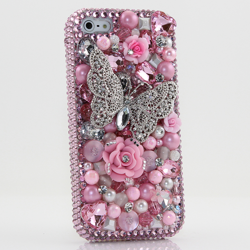 Bling Crystals Phone Case for iPhone 6 / 6s, iPhone 6 / 6s PLUS, iPhone 4, 5, 5S, 5C, Samsung Note 2, Note 3, Note 4, Galaxy S3, S4, S5, S6, S6 Edge, HTC ONE M9 (PINK BUTTERFLY DESIGN) By LuxAddiction