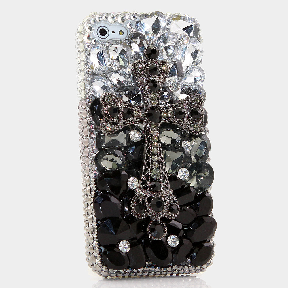 Bling Crystals Phone Case for iPhone 6 / 6s, iPhone 6 / 6s PLUS, iPhone 4, 5, 5S, 5C, Samsung Note 2, Note 3, Note 4, Galaxy S3, S4, S5, S6, S6 Edge, HTC ONE M9 (BLACK DIAMOND CROSS DESIGN ) By LuxAddiction