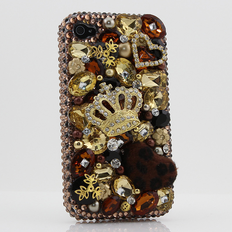 Bling Crystals Phone Case for iPhone 6 / 6s, iPhone 6 / 6s PLUS, iPhone 4, 5, 5S, 5C, Samsung Note 2, Note 3, Note 4, Galaxy S3, S4, S5, S6, S6 Edge, HTC ONE M9 (GOLDEN CROWN WITH LEOPARD FUR BALL DESIGN) By LuxAddiction