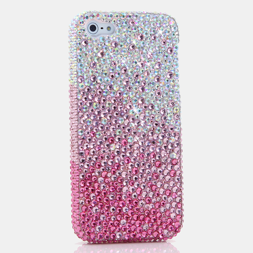 Bling Crystals Phone Case for iPhone 6 / 6s, iPhone 6 / 6s PLUS, iPhone 4, 5, 5S, 5C, Samsung Note 2, Note 3, Note 4, Galaxy S3, S4, S5, S6, S6 Edge, HTC ONE M9 (AB CLEAR CRYSTALS FADES TO PINK DESIGN) By LuxAddiction