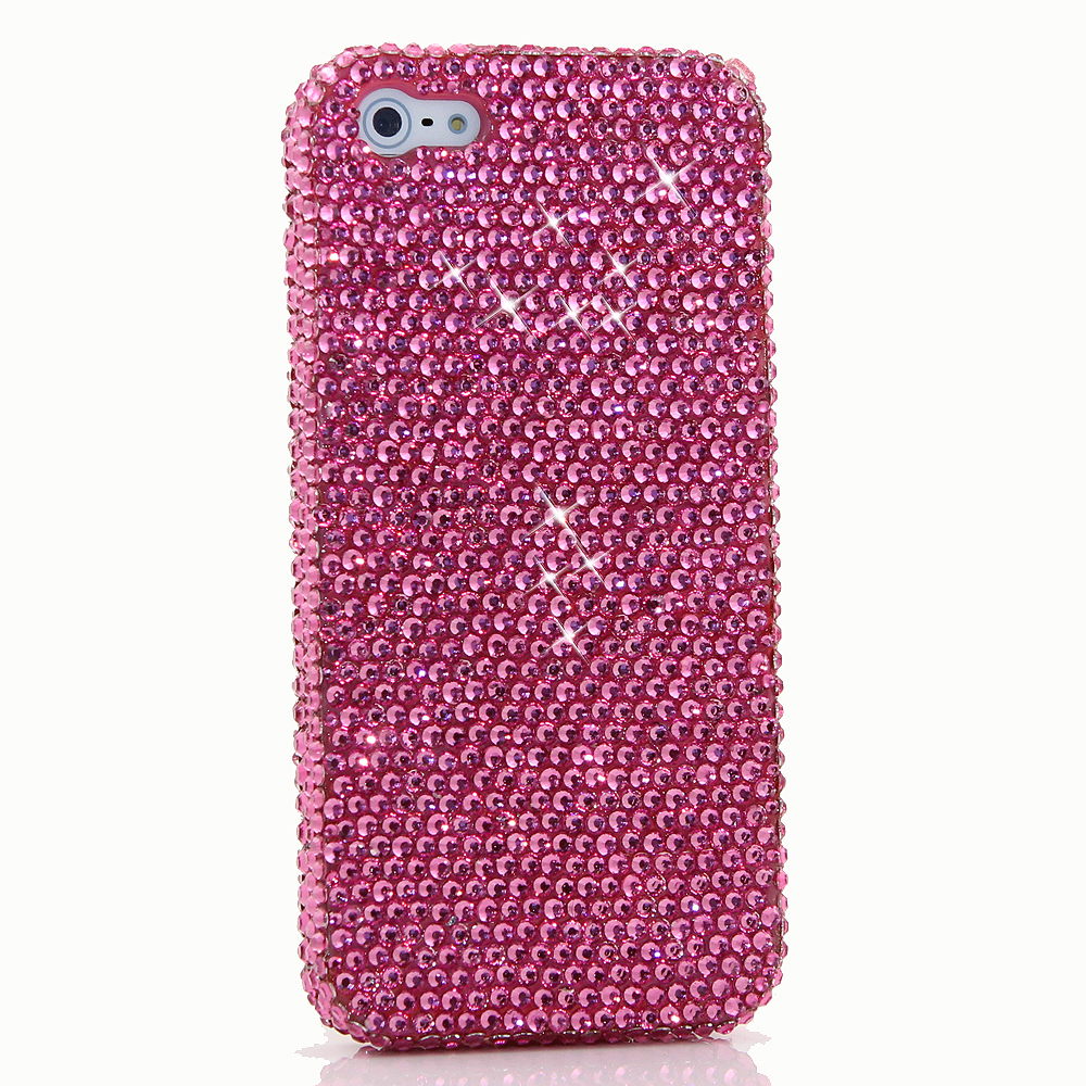 Bling Crystals Phone Case for iPhone 6 / 6s, iPhone 6 / 6s PLUS, iPhone 4, 5, 5S, 5C, Samsung Note 2, Note 3, Note 4, Galaxy S3, S4, S5, S6, S6 Edge, HTC ONE M9 (SIMPLE HOT PINK CRYSTALS DESIGN) By LuxAddiction