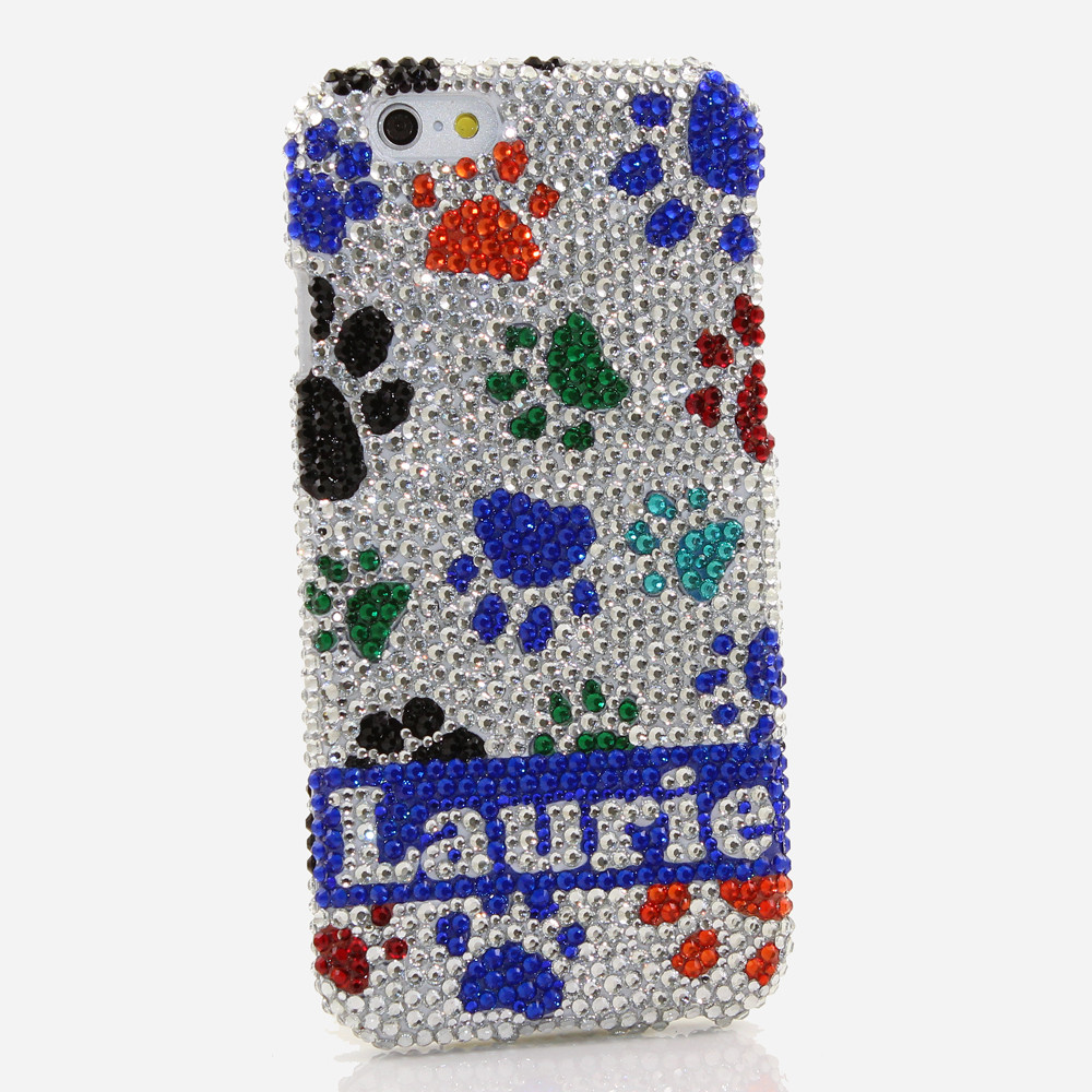 Bling Crystals Phone Case for iPhone 6 / 6s, iPhone 6 / 6s PLUS, iPhone 4, 5, 5S, 5C, Samsung Note 2, Note 3, Note 4, Galaxy S3, S4, S5, S6, S6 Edge, HTC ONE M9 (COLORFUL DOG PAWS PERSONALIZED NAME & INITIALS DESIGN) By LuxAddiction