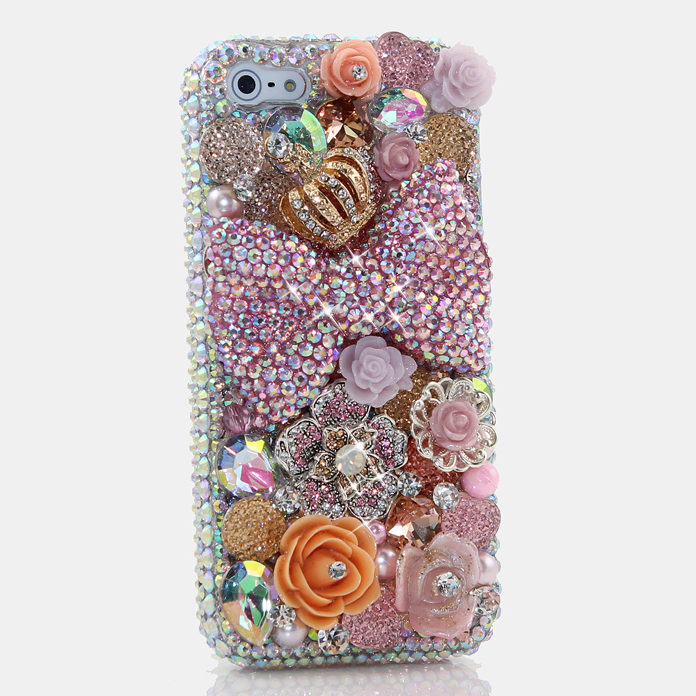 Bling Crystals Phone Case for iPhone 6 / 6s, iPhone 6 / 6s PLUS, iPhone 4, 5, 5S, 5C, Samsung Note 2, Note 3, Note 4, Galaxy S3, S4, S5, S6, S6 Edge, HTC ONE M9 (PINK BOW AND ROSES DESIGN) By LuxAddiction