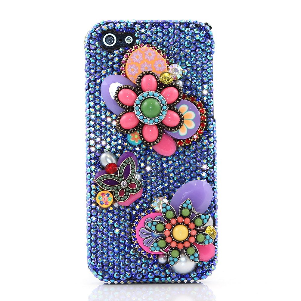 Bling Crystals Phone Case for iPhone 6 / 6s, iPhone 6 / 6s PLUS, iPhone 4, 5, 5S, 5C, Samsung Note 2, Note 3, Note 4, Galaxy S3, S4, S5, S6, S6 Edge, HTC ONE M9 (VINTAGE BLUE FLOWERS DESIGN) By LuxAddiction