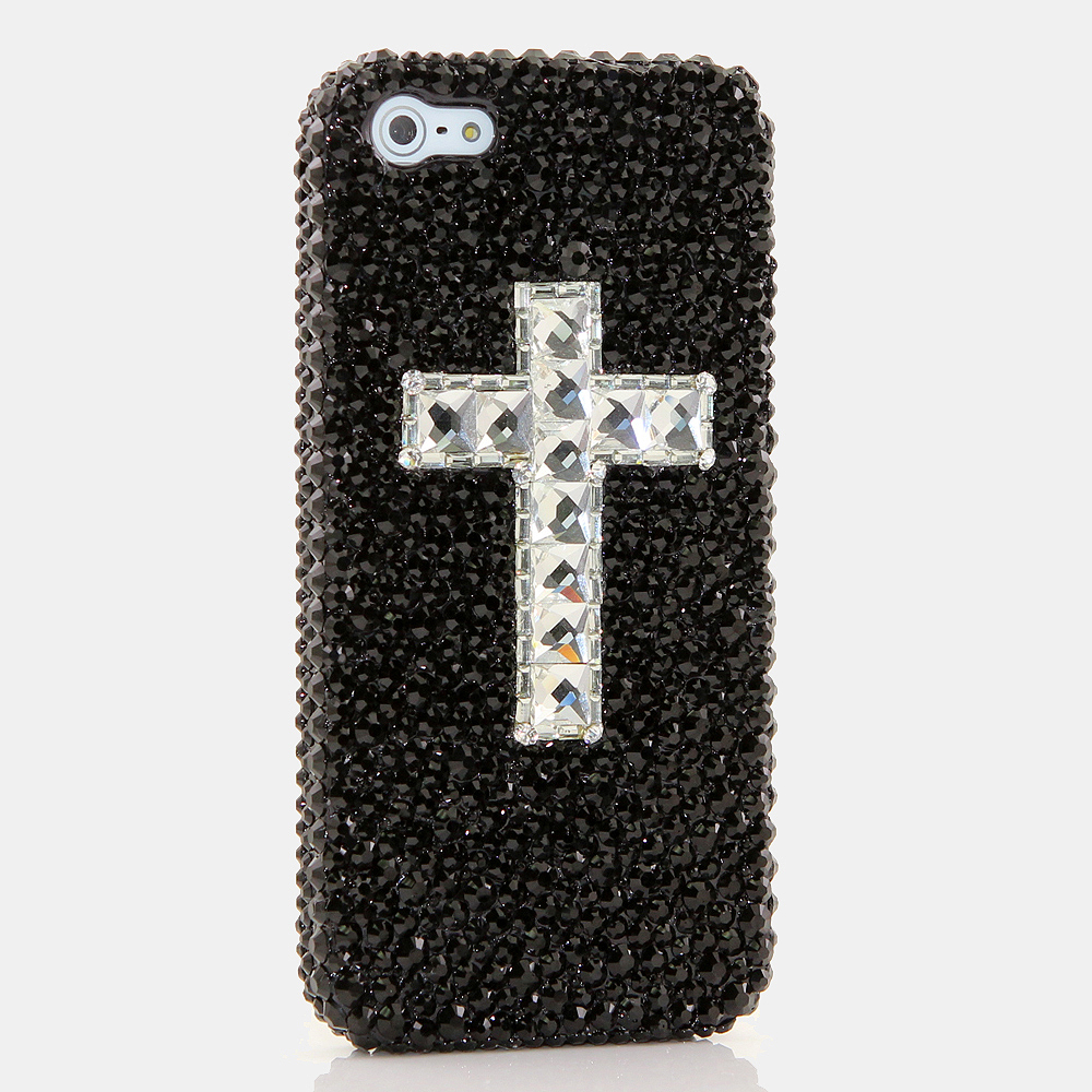 Bling Crystals Phone Case for iPhone 6 / 6s, iPhone 6 / 6s PLUS, iPhone 4, 5, 5S, 5C, Samsung Note 2, Note 3, Note 4, Galaxy S3, S4, S5, S6, S6 Edge, HTC ONE M9 (BLACK CROSS DESIGN) By LuxAddiction