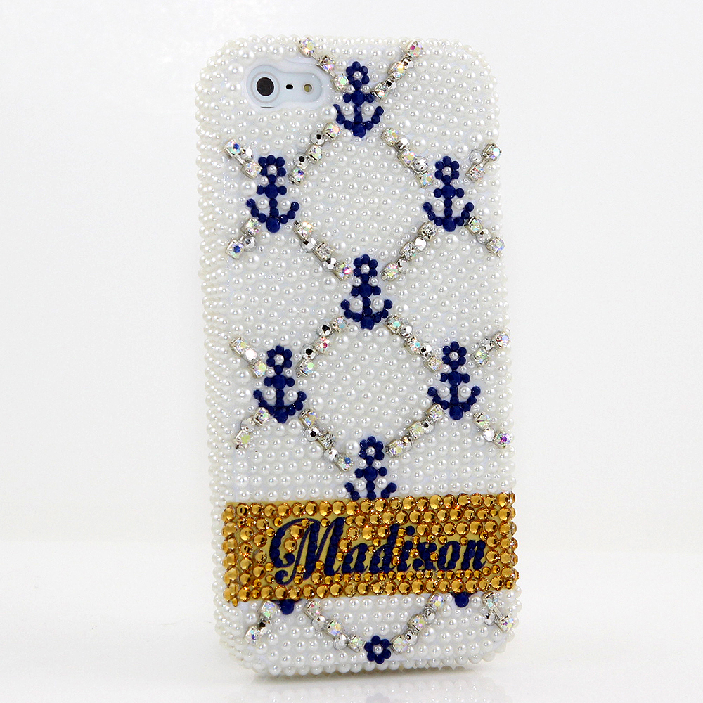 Bling Crystals Phone Case for iPhone 6 / 6s, iPhone 6 / 6s PLUS, iPhone 4, 5, 5S, 5C, Samsung Note 2, Note 3, Note 4, Galaxy S3, S4, S5, S6, S6 Edge, HTC ONE M9 (ANCHOR PERSONALIZED NAME & INITIALS DESIGN) By LuxAddiction