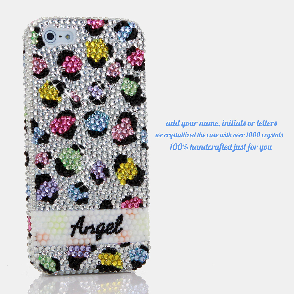 Bling Crystals Phone Case for iPhone 6 / 6s, iPhone 6 / 6s PLUS, iPhone 4, 5, 5S, 5C, Samsung Note 2, Note 3, Note 4, Galaxy S3, S4, S5, S6, S6 Edge, HTC ONE M9 (RAINBOW LEOPARD PERSONALIZED NAME & INITIALS DESIGN) By LuxAddiction