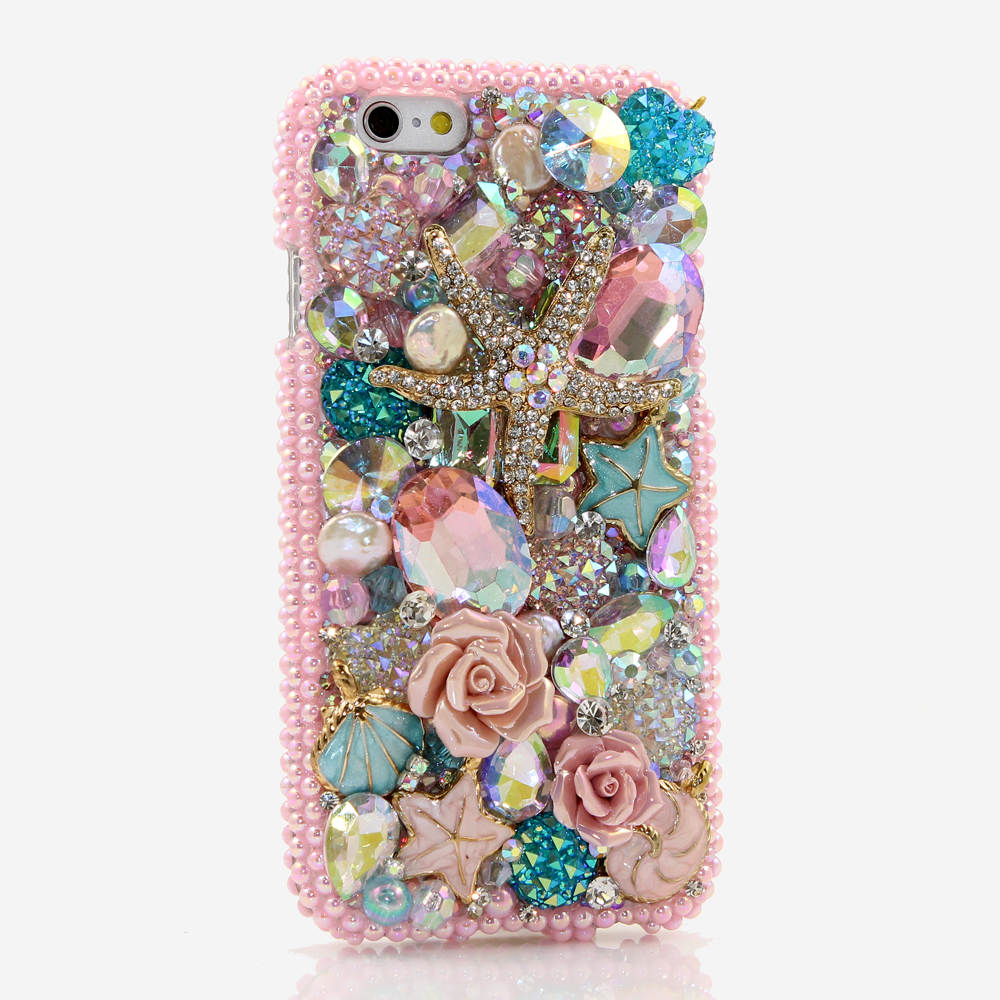 Bling Crystals Phone Case for iPhone 6 / 6s, iPhone 6 / 6s PLUS, iPhone 4, 5, 5S, 5C, Samsung Note 2, Note 3, Note 4, Galaxy S3, S4, S5, S6, S6 Edge, HTC ONE M9 (GOLDEN SEA STAR DESIGN) By LuxAddiction