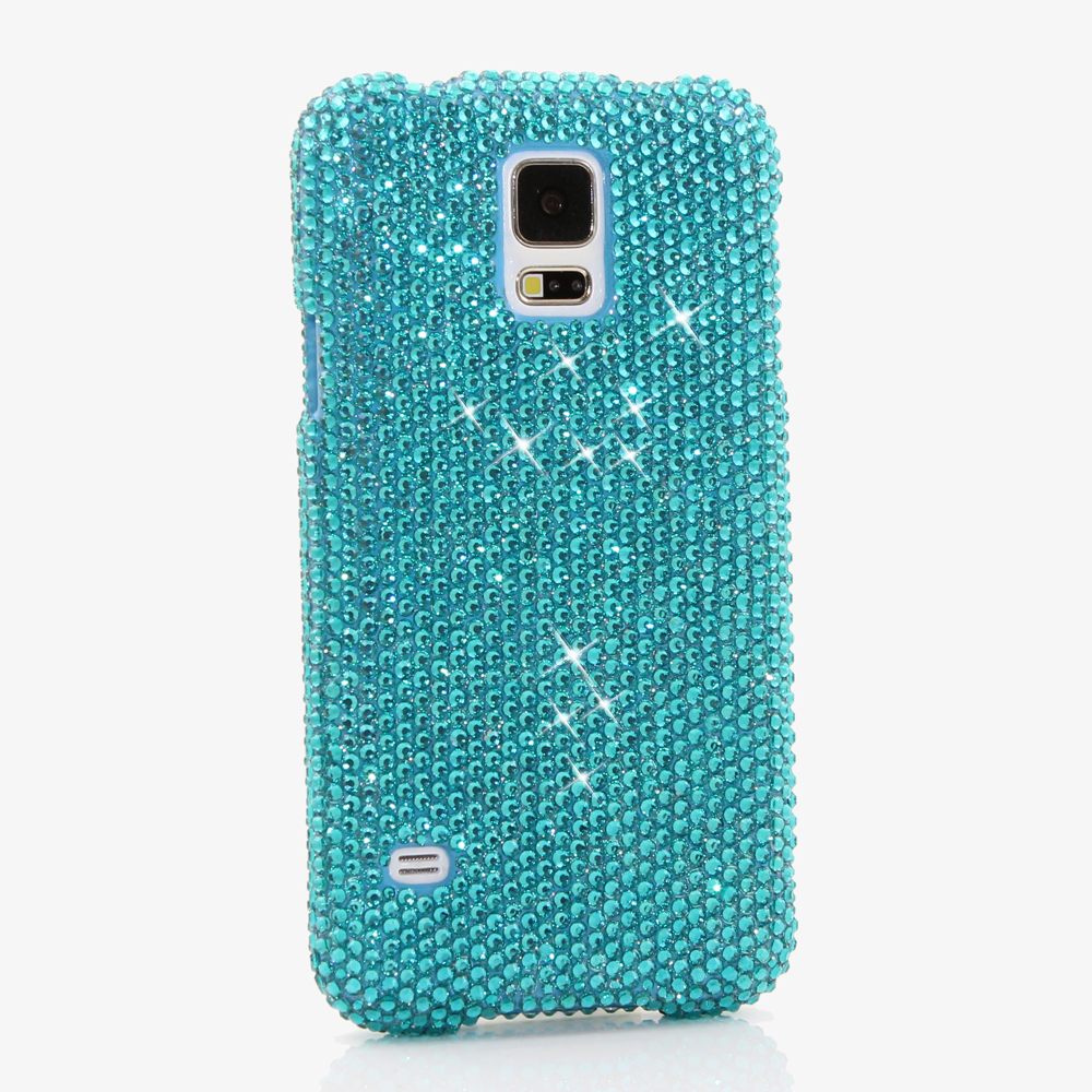 Bling Crystals Phone Case for iPhone 6 / 6s, iPhone 6 / 6s PLUS, iPhone 4, 5, 5S, 5C, Samsung Note 2, Note 3, Note 4, Galaxy S3, S4, S5, S6, S6 Edge, HTC ONE M9 (TURQUOISE CRYSTALS DESIGN) By LuxAddiction