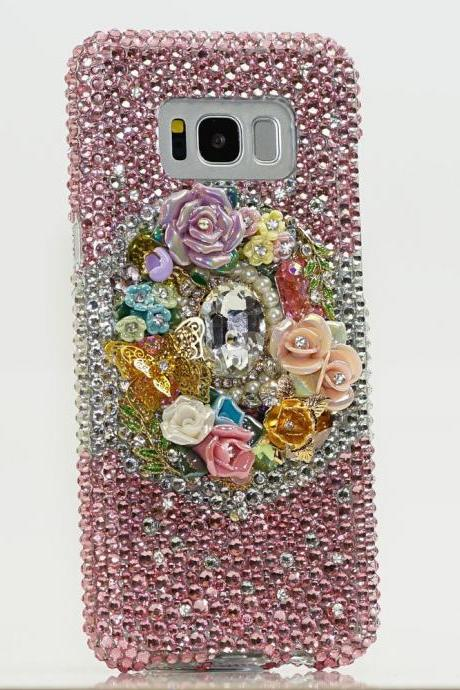Bling Rose Garden Butterfly Flowers Pearls Genuine Crystals Diamond Sparkle Case For iPhone X XS Max XR 7 8 Plus Samsung Galaxy S9 Note 9