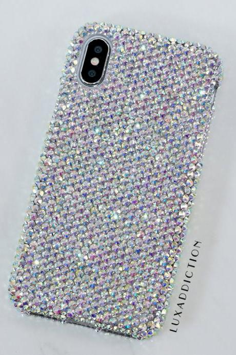 Bling Genuine Aurora Borealis Crystals Case With Matching Iced Popsocket For iPhone X XS Max XR 7 8 Plus Samsung Galaxy S9 Note 9 / 8
