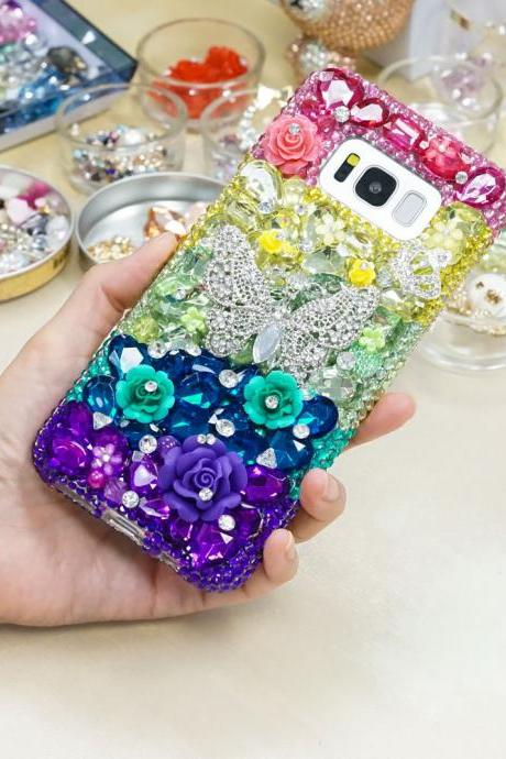Rainbow Butterfly Rose Garden Genuine Crystals Diamond Sparkle Bling Case For iPhone X XS Max XR 7 8 Plus Samsung Galaxy S9 Note 9