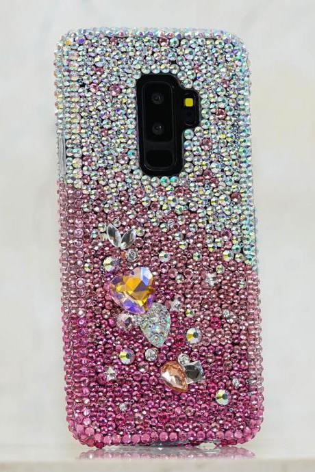 Genuine AB Crystals Faded to Hot Pink Heart Stones Diamond Sparkle Bling Case For iPhone X XS Max XR 7 8 Plus Samsung Galaxy S9 Note 9