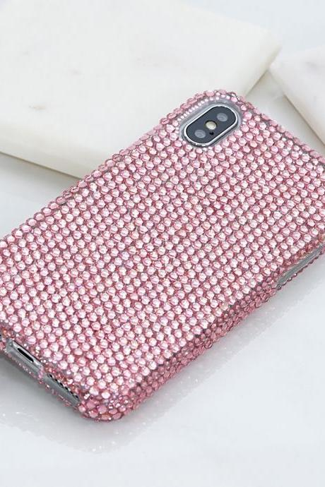Bling Genuine Baby Pink Crystals Case For iPhone X XS Max XR 7 8 Plus Samsung Galaxy S9 Note 9 8 Diamond Sparkle Easy Grip Protective Cover