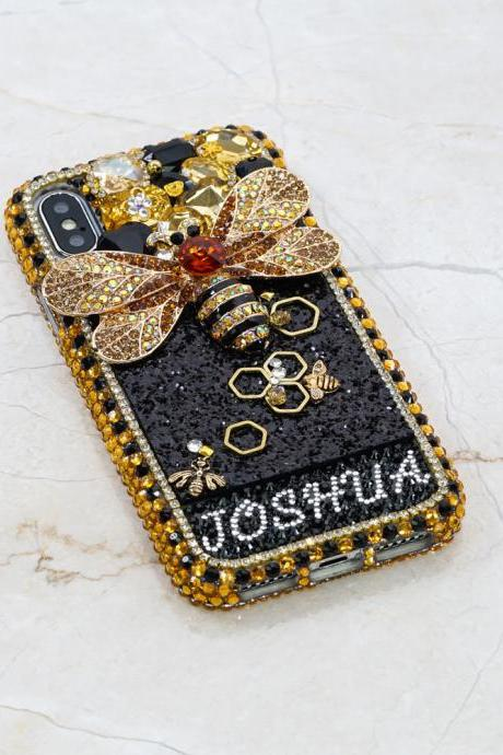Bumblebee Personalized Name Initials Genuine Gold Stones Crystals Bling Case For iPhone X XS Max XR 7 8 Plus Samsung Galaxy S9 Note 9 / 8