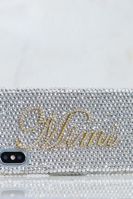 Personalized Name Initials Genuine Clear Gold Chain Crystals Bling Case For iPhone X XS Max XR 7 8 Plus Samsung Galaxy S9 Note 9 / 8