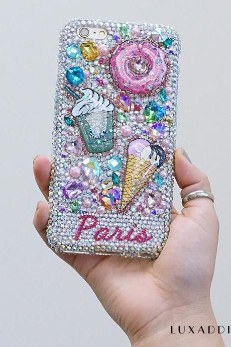 Starbucks Pastry Donuts Personalized Name Initials Genuine Crystals Bling Case For iPhone X XS Max XR 7 8 Plus Samsung Galaxy S9 Note 9 / 8