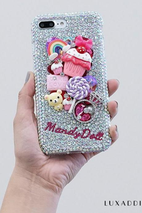 Yummy Sweets Bear Personalized Name Initials Genuine Crystals Bling Case For iPhone X XS Max XR 7 8 Plus Samsung Galaxy S9 Note 9 / 8