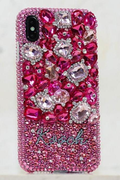 Gemstones Garden Personalized Name Initials Genuine Pink Crystals Bling Case For iPhone X XS Max XR 7 8 Plus Samsung Galaxy S9 Note 9 / 8