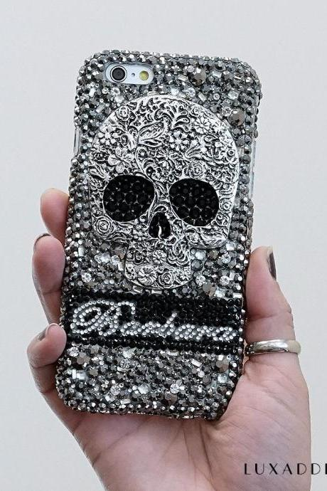 Metallic Skull Personalized Name Initials Genuine Black Crystals Bling Case For iPhone X XS Max XR 7 8 Plus Samsung Galaxy S9 Note 9 / 8