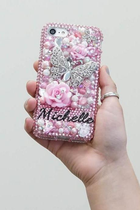 Butterfly Roses Pearls Personalized Name Initials Genuine Pink Crystals Bling Case For iPhone X XS Max XR 7 8 Plus Samsung Galaxy S9 Note 9