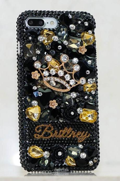 Golden Diamond Crown Personalized Name Initials Genuine Black Crystals Bling Case For iPhone X XS Max XR 7 8 Plus Samsung Galaxy S9 Note 9